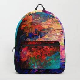WELCOME TO UTOPIA Bold Rainbow Multicolor Abstract Painting Forest Nature Whimsical Fantasy Fine Art Backpack