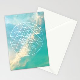 Sri Yantra Sacred Geometry over Galaxy - Teal Stationery Cards