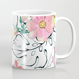 Watercolor Floral & Leaves Pastel Print With Pencil Sketching Coffee Mug
