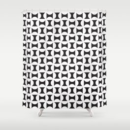 Geometric Pattern 238 (black white curves) Shower Curtain
