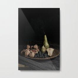 autumn fruit on wooden tray | fine art still life color photography | print wall art Metal Print