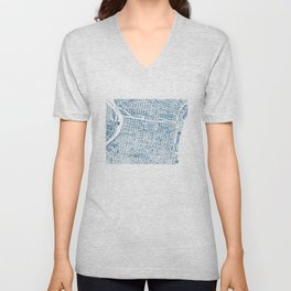 Philadelphia City Map Unisex V-Neck