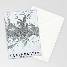 Ulaanbaatar, Mongolia, White, City, Map Stationery Cards