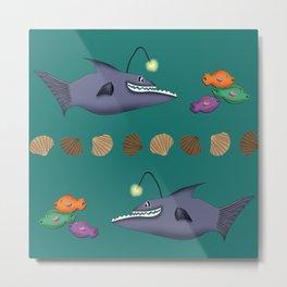 Funny fish on the hunt Metal Print