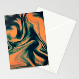 Abstract Painting Orange and Petrol  Stationery Cards