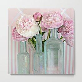 Peonies Shabby Chic Cottage Pink Aqua Peony Bottles Art Print Home Decor Metal Print