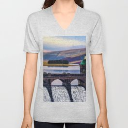 Medieval Dam of the Elan Valley of Wales Unisex V-Neck