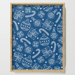 Christmas Doodle Pattern Pantone Classic Blue Serving Tray