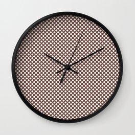 Root Beer and White Polka Dots Wall Clock