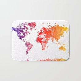 world map watercolor orange Bath Mat