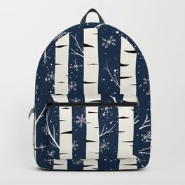 Birch Trees and Snow Flakes Against Blue Night Backpack