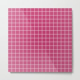 Fuchsia rose - fuchsia color -  White Lines Grid Pattern Metal Print