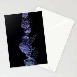 Jellyfish in Black and Purple Stationery Cards
