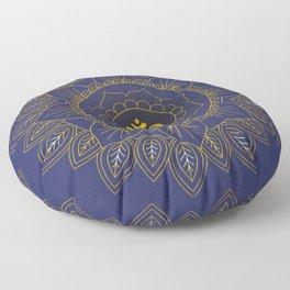 Om Symbol and Mandala in Spiritual Gold Purple Blue Violet Floor Pillow