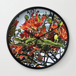 Royal Poinciana Tree Full Bloom Wall Clock