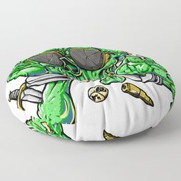 handcuffed zombie cartoon Floor Pillow