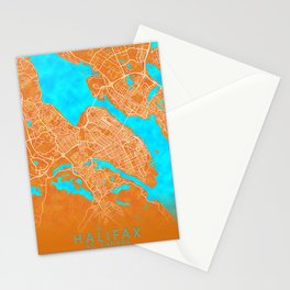 Halifax, NS, Canada, Gold, Blue, City, Map Stationery Cards