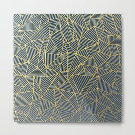 Ab Lines Gold and Navy Metal Print