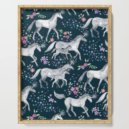 Unicorns and Stars on Dark Teal Serving Tray