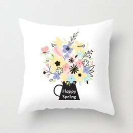 Happy Spring Flower Kettle Vase with butterfly Throw Pillow