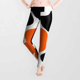 Large Orange and Black Retro Flowers White Background #decor #society6 #buyart Leggings