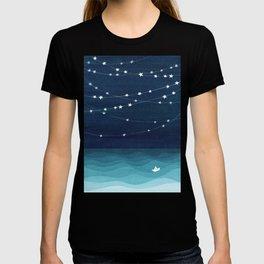 Garlands of stars, watercolor teal ocean T-Shirt