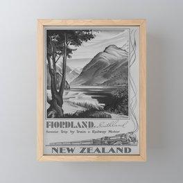 retro classic Fiordland poster Framed Mini Art Print