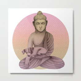 Buddha with dog 6 Metal Print