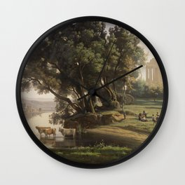 Jean-Baptiste-Camille Corot - Italian Landscape (Site d'Italie, Soleil Levant) Wall Clock
