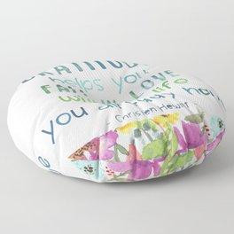Gratitude Watercolor Inspirational Quote Floor Pillow