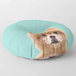 Pomeranian dog portrait minty cute art gifts for dog breed pom lovers Floor Pillow