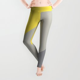 Grey and Yellow Line Design Solid Colors 2021 Color of the Years and Accent Hue Leggings