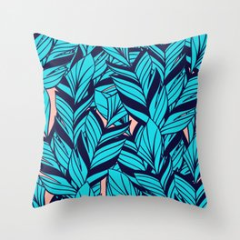 Blue Banana Leaf Pattern Throw Pillow
