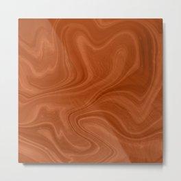 Burnt Orange Swirl Marble Metal Print