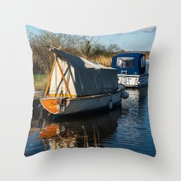Boats on the River Thurne Throw Pillow
