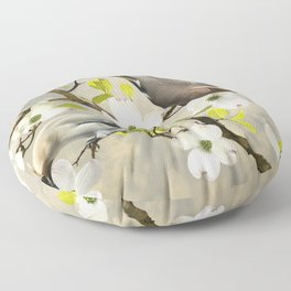 Bohemian Waxwing in Dogwood Tree Floor Pillow