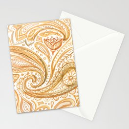 Yellow paisley pattern Stationery Cards