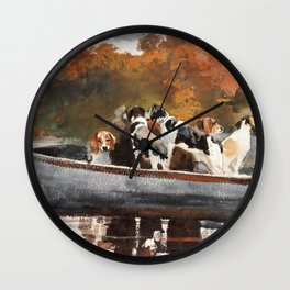 Winslow Homer1 - Hunting Dogs In Boat - Digital Remastered Edition Wall Clock