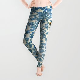 Vintage Antique Blue Wallpaper Pattern Leggings