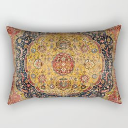 Indian Boho III // 16th Century Distressed Red Green Blue Flowery Colorful Ornate Rug Pattern Rectangular Pillow