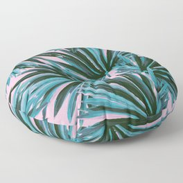 Tropical Palm Leaves in Botanical Green + Pink Floor Pillow