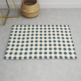Dark Blue and Off White Uniform Large Polka Dots Pattern on Beige Matches Chinese Porcelain Blue Rug
