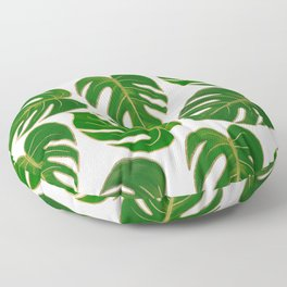 Modern hand painted green faux gold monster leaves Floor Pillow