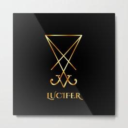 Sigil of Lucifer- A symbol of satanic god Lucifer in gold Metal Print