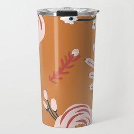 Orange Florals Travel Mug