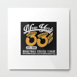 Basketball Shirt, New York Basketball College League Metal Print