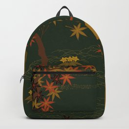 Gold Fall Moon Rustic Forest Nature Deer Backpack