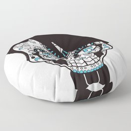 scull head with bow tie Floor Pillow