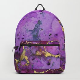 Purple Ink Gold Glitter Marble Backpack
