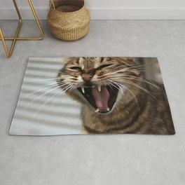 Tabby Cat Yawn Artistic Portrait Rug